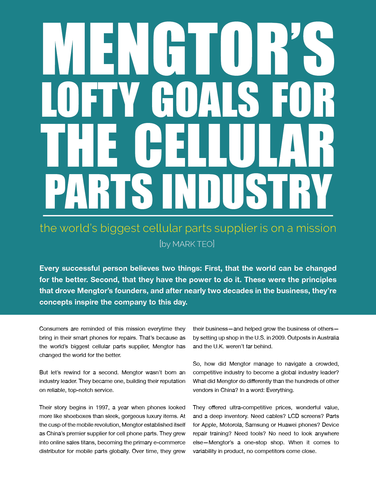 Mengtor's lofty goals for the cellular parts industry